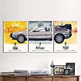 YCOLLC Impressions sur Toile  Art Movie Poster 3 Pieces Retour vers Le Futur Ville...
