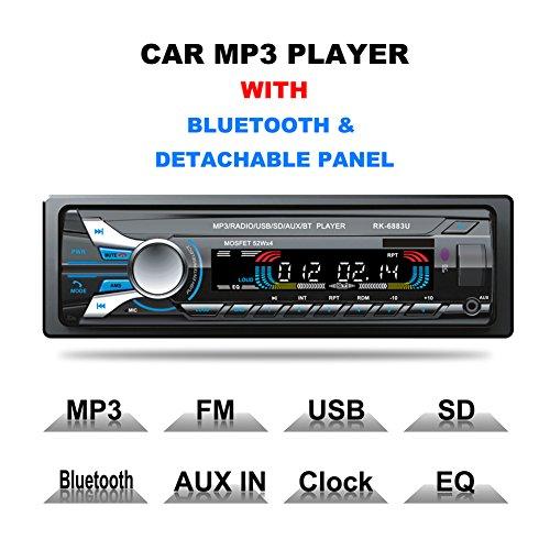 Vodool Registered 12V Bluetooth Car Radio MP3 Audio Player Removable dechatable fr