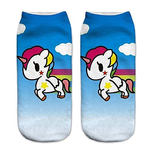 Jysport Sneaker-Socken mit Einhorn-Motiv, niedrig geschnitten, Baumwollmischung, für Damen und Mädchen, Cartoon cloud unicorn