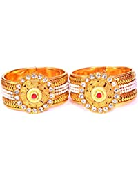 Kushsection Traditional Style Gold Plated Kara Bangle For Women Free Size