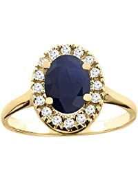 Revoni 14 Karat Gelbgold Ovalschliff Ring Saphir 8x6mm mit Diamanten CY416329