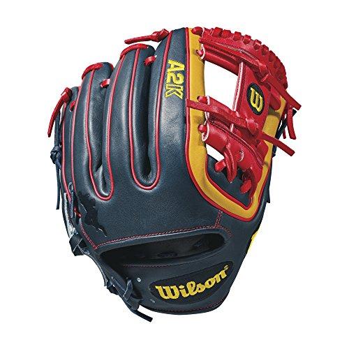 Wilson Herren 2018A2K datdude GM Infield glove-right Hand werfen, schwarz/tropical blau/rot/blond, 29,2cm (Infielders Pitcher-baseball-handschuh)