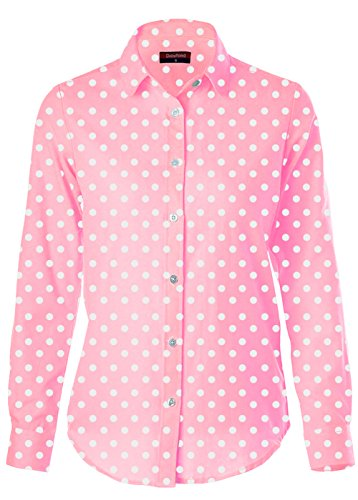 Dioufond Mujeres Camisas de Algodón Manga Larga Diseño a Lunares Tops Blusas - Trabajo/Verano(EU 40,Rosa)