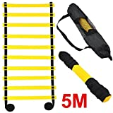 Outdoortips 5M 10-rung Sports Agility Ladder For Speed/ Football Fitness Feet Training (Black)