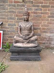 Kunstvolles Stein XL Thai Buddha und Sockel, Garten Statue