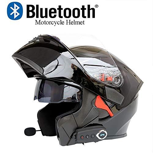 Casco Moto modulare Bluetooth Casco Crash D.O.T Certificazione-Caschi integrali da Corsa Flip Anteriore risponditore Automatico Anti-Nebbia Doppio Specchio con FM,Nero,XL(61~62CM)