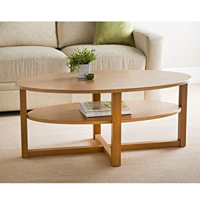 Contemporary Oak Finish Oval Shaped Coffee Table With Undershelf - cheap UK light shop.