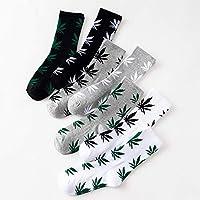 JSGJWWZZ Men's Socks Maple Leaf Couples Socks Street Skateboard Dead Gray Hemp Leaf Cotton Stockings