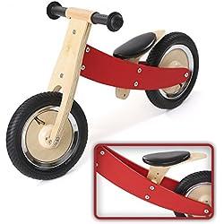 Bicicleta sin Pedales Niños Balance Bike Impulsor Sillín regulable de Madera 10 Plugadas Chopper en Rojo Nuevo de BABY VIVO