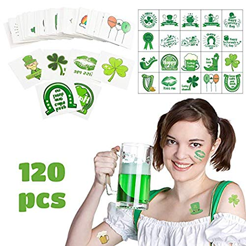 BEYUMI 120 Packs St Patrick es Day Temporary Tattoo Sticker Clover Happy St Patrick ' s Day Colorful Waterproof Flash Tattoos