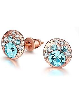 Adisaer 18K Rosegold Vergoldet Ohrstecker Damen Diamant Runde Ohrringe Zirkonia Blau Weiß Kristall Ohrschmuck...