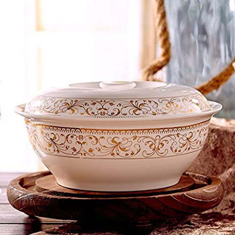 Yifom Phnom Penh, 9 pollici osso zuppa di porcellana tazza con coperchio coppa in ceramica