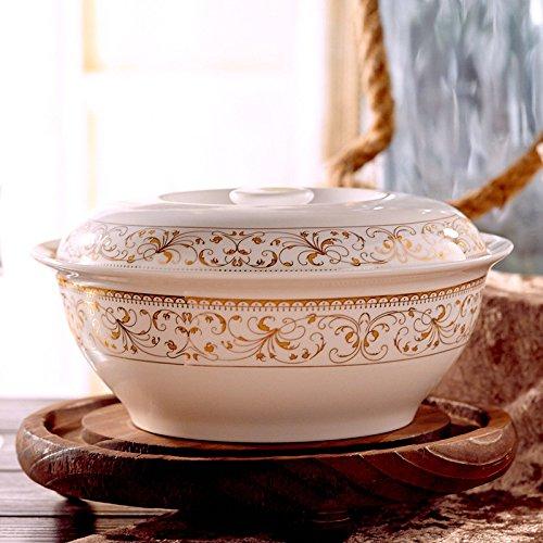 Phnom Penh, 9Zoll Bone Porzellan Suppenschüssel mit Deckel Keramik Schüssel