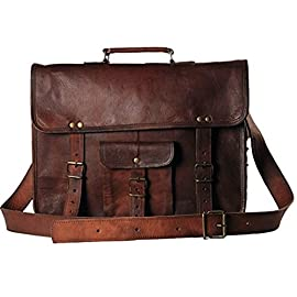 Vintage Genuine Leather Laptop Briefcase messenger satchel bag Handmade