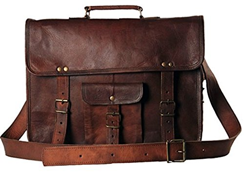 - 51SuCAf6WWL - Vintage Genuine Leather Laptop Briefcase messenger satchel bag Handmade
