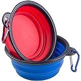 ZWOOS Gato recipiente para perros- Comedero para Mascotas Bebedero Portátil Plegable de Viaje Cuenco Recipiente Plato Silicona para Perro Gato con Mosquetón, 2 en 1 Pack(rojo y azul)