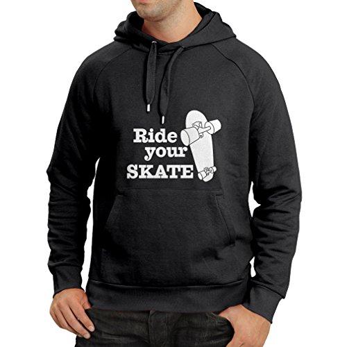 Lepni.me felpa con cappuccio ride your skate (small nero fluorescente)