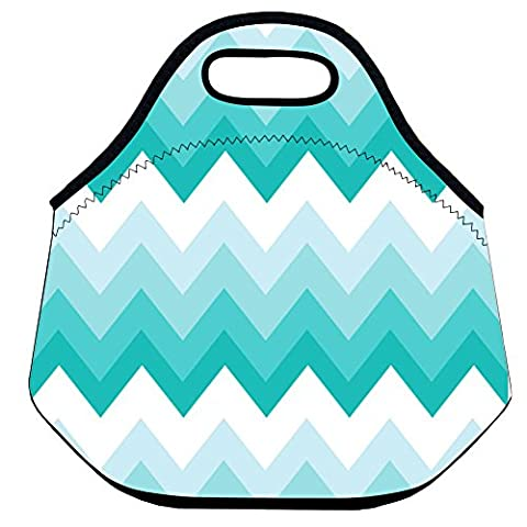 Insulated Lunch Bag and Reusable Lunch Tote for Adults Teal Pink Triangle Floral Pattern 30*28*16 CM