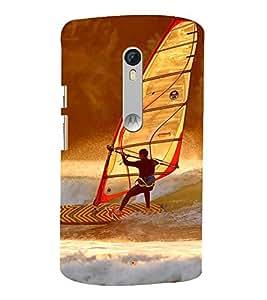 SURFER FACING A WILD OCEAN TIDE 3D Hard Polycarbonate Designer Back Case Cover for Motorola Moto X Style