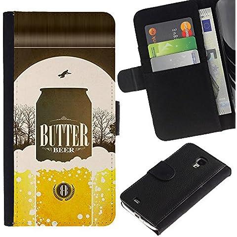 UPPERHAND ( Non Per S4 i9500 ) Stile Immagine Portafoglio Carte PELLE FLIP TPU CUSTODIA CASE PROTEZIONE COVER IN GUSCIO Per Samsung Galaxy S4 Mini i9190 - birra lattina bottiglia dorata annuncio manifesto