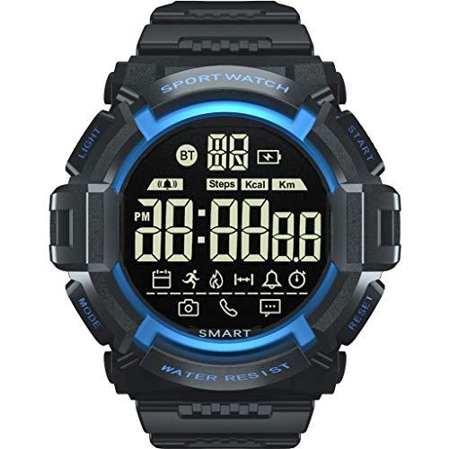 Reloj inteligente hombre-TianranRT♕ Reloj inteligente Reloj de pulsera de deportes de moda con contador de pasos en funcionamiento para hombres 's,Azul