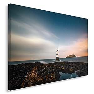 Feeby. Quadro - 1 Parte - 40x50 cm, Pannello singolo Quadri su tela Stampa artistica, FARO, MARE, NATURA, MARRONE, BLU
