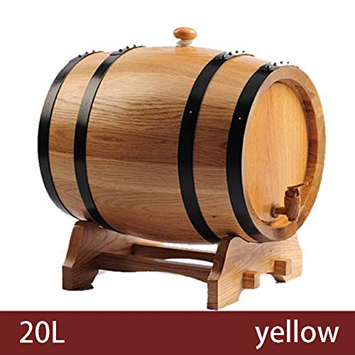 CYANNAN Barriles para Cerveza - Sin agallas Cerveza Dispensador Licor Entero Barriles Vino Licores Licores Vino Tinto Barrica Barril De Madera Roble,Yellow,20L