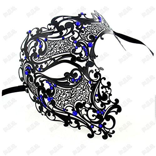 Villain Horror Half Face Emaille Metall Diamant Maskerade Maske Halloween Venedig Gold und Silber Maske, 5