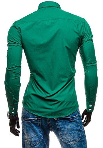 BOLF Herrenhemd Langarm Hemd Figurbetont Freizeithemd Klassisch 1721-1 Dunkelgrün