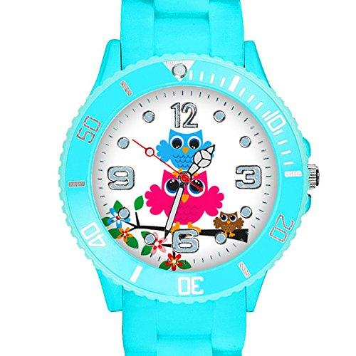 Taffstyle Kinder Armbanduhr Silikon Sportuhr Bunte Sport Uhr mit Blumen Eulen Familie Motiv Analog Quartz Little 34 mm Himmelblau