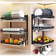 حامل تجفيف اطباق من باتيوسناب، حامل صحون من 3 طبقات مصنوع من الستانلس ستيل 304، رف ادوات مطبخ، مصفاة اطباق، حا