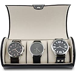 VENKON Watch Box for 3 Watches Black Faux Leather Storage & Display - 19 x 9 x 9 cm