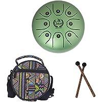 MMBAT Mebite - Manija para tambor de lengua (acero, 5,5 pulgadas, mini instrumento musical con varillas y bolsa de estilo nacional), verde