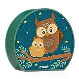 reer 52062 MyBabyLight, Nachtlicht mit Eulen-Motiv, Einschlaflicht für Baby und Kind, batterie-betrieben, grün