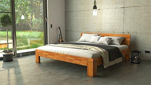 SAM® Design Schlafzimmer-Bett, Jugend-Bett, Holz-Bett, Ehe-Bett massiv Kern-Buche-Holz Natur, geölt, geschlossenes Kopfteil, natürliche, widerstandsfähige Oberfläche 200 x 200 cm [520965]