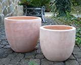 2er Set Blumentopf echt Terrakotta je 32 cm + 25 cm , Blumenkübel für Garten und Wohnung Terracotta ........... kein Kunststoff, Blumen
