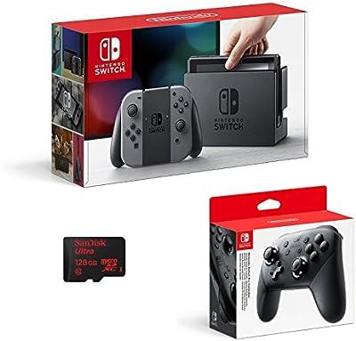 Nintendo Switch - Color Gris + Mando Pro Controller + SanDisk microSDXC UHS-I 128 GB Clase 10 con adaptador SD