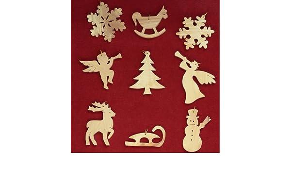 GLOCKEN /& STERNE Baumschmuck In Bethlehem aus Olivenholz handgeschnitzt 9-teiliges Set f/ür Weihnachten.