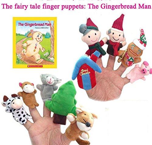 DDOQ Zehn Stücke Die Ginger Bread Man Story Telling Sack Tasche Fingerpuppen