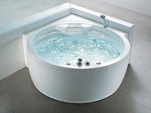Whirlpool Badewanne Florenz mit 14 Massage Düsen + Heizung + Ozon Desinfektion + Beleuchtung / Licht + Wasserfall + Radio - Eckwanne Sprudelbad Jakuzzi indoor / innen günstig
