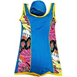 Girls swim wear/Sky Blue swimsuit with a flexible cap - Size S to M