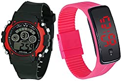 Pappi Boss Sports Watch Collections - Digital Black-Red Dial Sports Watch For Boys, Men & Unisex Silicone Cute Pink BUTTON LED Digital Watch for Girls, Women - COUPLE PACK