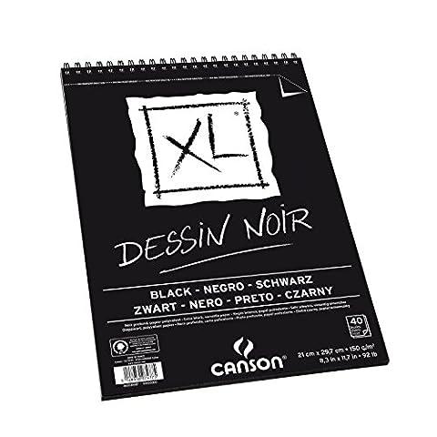 Canson - XL - Bloc spirale Dessin noir - A4 - 40 feuilles Noires - 150 g/m²