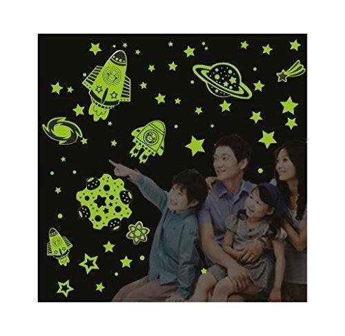 IMBS Glow in The Dark Wand-Deckenaufkleber - Fluoreszierende leuchtende Aufkleber für Wanddecke Kinderzimmer Schlafzimmer Dekoration Soft Green - Rocket & Stars