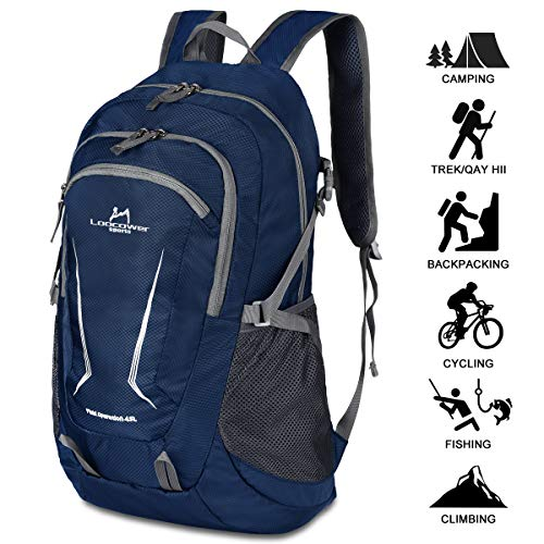 Loocower 45L Leichte Packable Reiserucksack Wanderrucksack, Multifunktionale Tagesrucksack, Faltbare Camping Trekking Rucksäcke, Utra Leicht Outdoor Sport Rucksäcke Tasche - Blue (Leichte Rucksäcke)