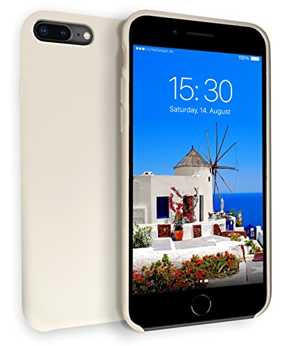 MyGadget Hardcase Hülle [Gummiert] für Apple iPhone 7+ / 8 Plus - Schutzhülle Case mit Soft Touch Silikon Finish - Back Cover Stoßfest in Matt Creme