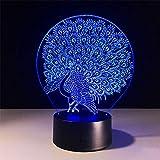 BFMBCHDJ Peacock 7 Color 3D Light Creative Touch Lámparas de escritorio Acrílico Night Light USB LED 3D Lamp Give Niños Regalos y juguetes