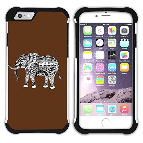 Graphic4You Stammes- Elefant (Wasserblau) Hart + Weiche Kratzfeste Hülle Case Schale Tasche Schutzhülle für Apple iPhone 6 Plus / 6S Plus Braun