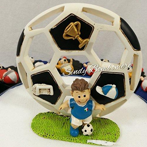 Battesimo nascita comunione bomboniera portaconfetti torta con ragazzo magnete calciatore calcio sport inter (centrale confezionato a parte)