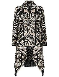 Fast Fashion - Cardigan Aztèque Raie Diamant Impression Tricoté Cascade - Femme